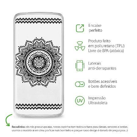 Capa Mandala Preta para Moto X Play