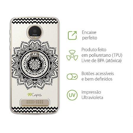 Capa para Moto Z Power/Style - Mandala Preta