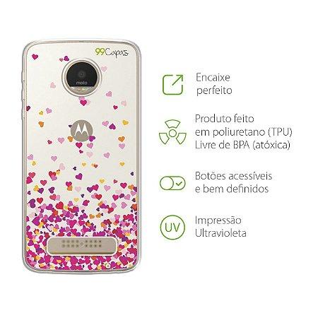 Capa para Moto Z Play - Corações Rosa