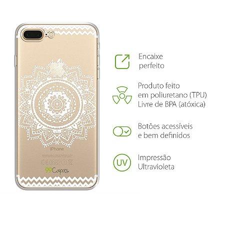 Capa Mandala Branca para Iphone 7 Plus