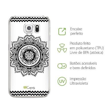Capa Mandala Preta para Galaxy S6
