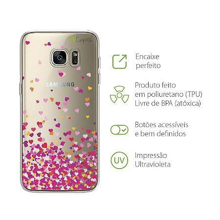 Capa para Samsung Galaxy S7 Edge - Corações Rosa