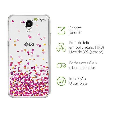 Capa para LG X Screen - Corações Rosa