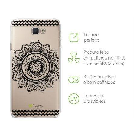 Capa Mandala Preta para Samsung J7 PRIME