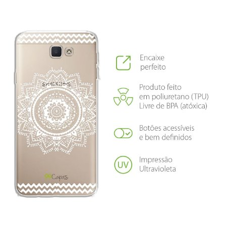 Capa Mandala Branca para Samsung J7 PRIME