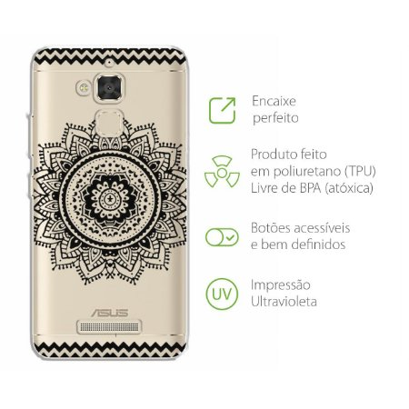 Capa para Zenfone 3 Max - 5.2 Polegadas - Mandala Preta