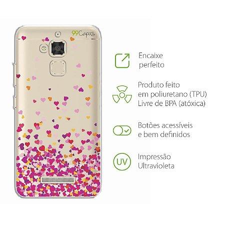 Capa para Asus Zenfone 3 Max - 5.2 Polegadas - Corações Rosa
