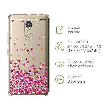 Capa para Lenovo K6 - Corações Rosa