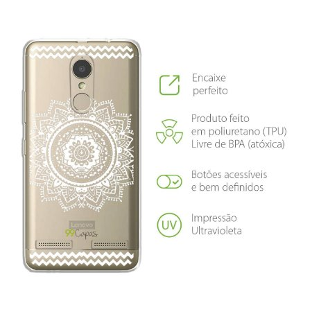 Capa para Lenovo Vibe K6 Plus - Mandala Branca