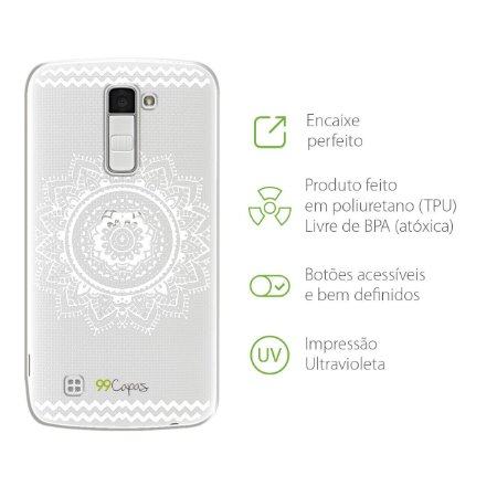 Capa Mandala Branca para LG K8
