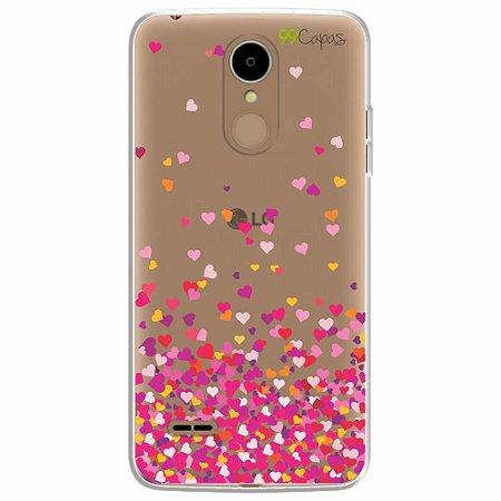 Capa para LG K8 2017 - Corações Rosa