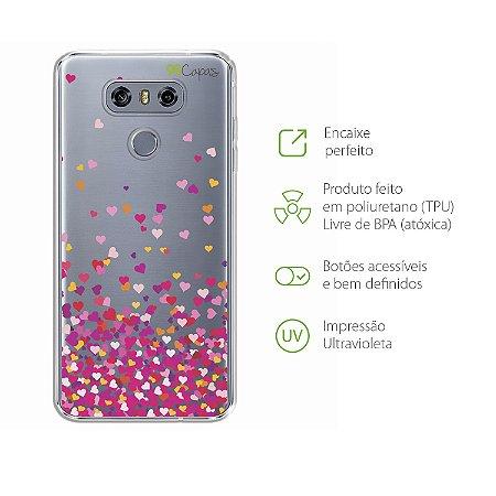 Capa para LG G6 - Corações Rosa