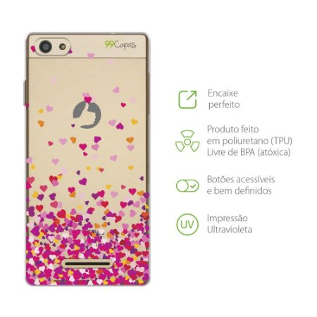 Capa para Positivo Selfie - Corações Rosa