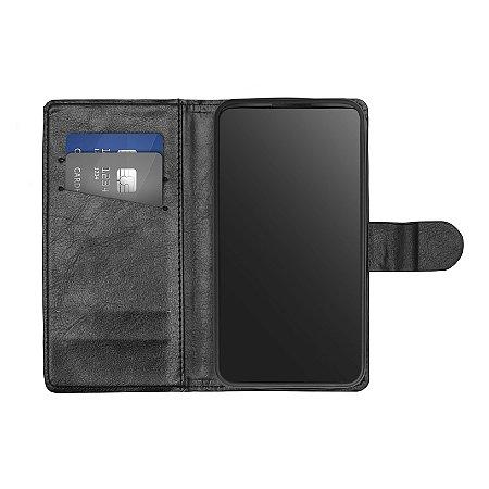 Capa Flip Carteira Preta para Lenovo Vibe K6 Plus