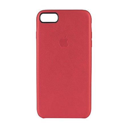 Capa Couro Vermelha para Apple iPhone 7