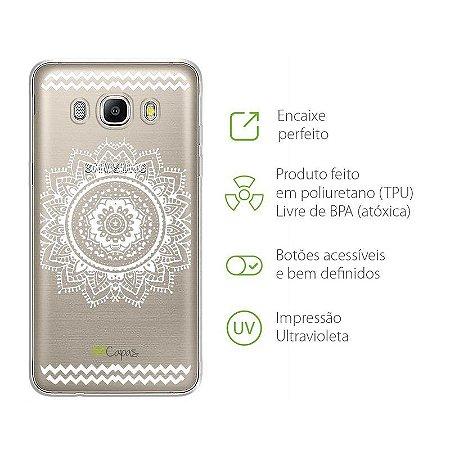 Capa para Samsung Galaxy J5 - Mandala Branca