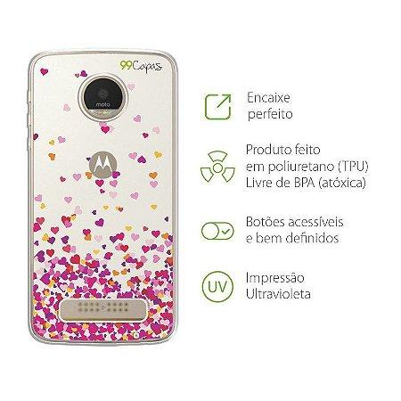 Capa para Moto Z2 Play - Corações Rosa