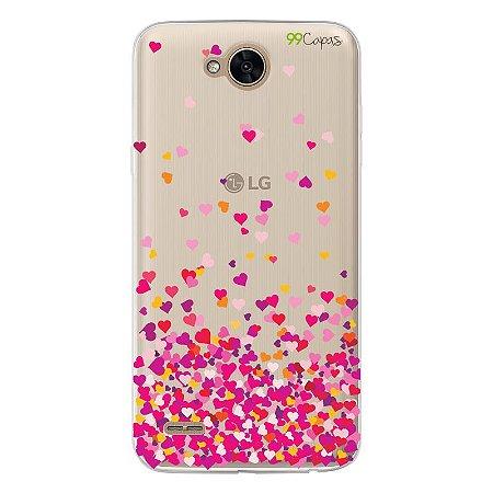 Capa para LG K10 Power - Corações Rosa