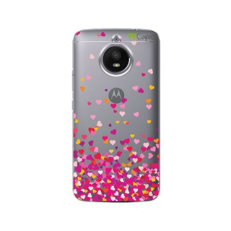 Capa Moto E4 Plus - Corações Rosa