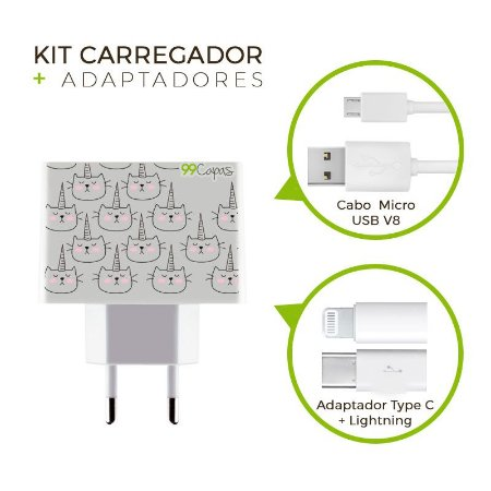 Kit Carregador Personalizado Duplo USB de Parede + Cabo Micro Usb Personalizado + Adaptador Type C  - Catcorn