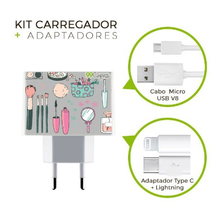 Kit Carregador Personalizado Duplo USB de Parede + Cabo Micro Usb Personalizado + Adaptador Type C e Lightning   - Make Up