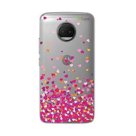 Capa para Motorola Moto G5S Plus - Corações Rosa