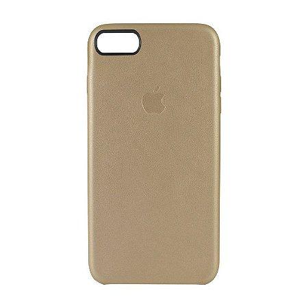 Capa Couro Dourada para Apple iPhone 8