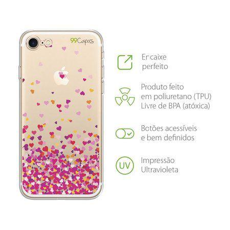 Capa para iPhone 8 - Corações Rosa