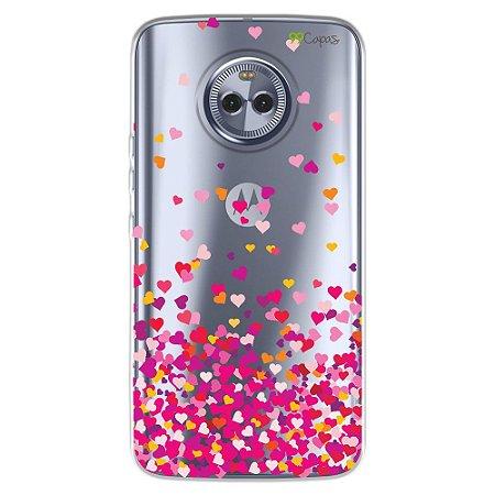 Capa para Moto X4 - Corações Rosa
