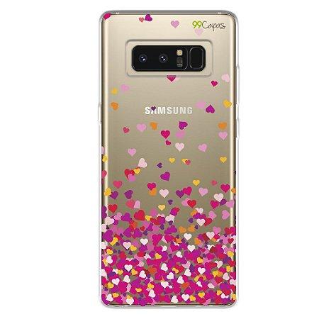 Capa para Samsung Note 8 - Corações Rosa