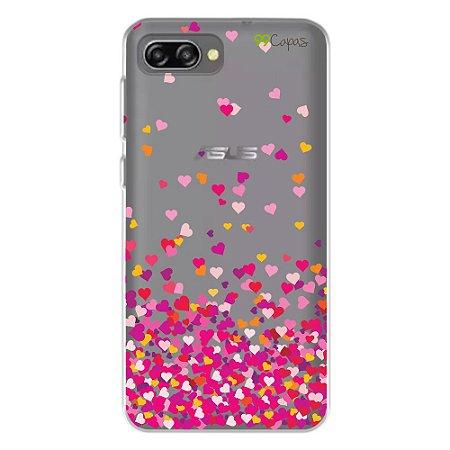 Capa para Zenfone 4 Max 5.5  Polegadas - ZC554KL - Corações Rosa