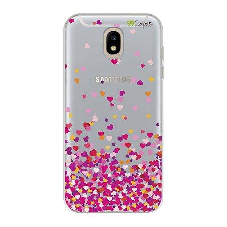 Capa para Galaxy J5 Pro - Corações Rosa