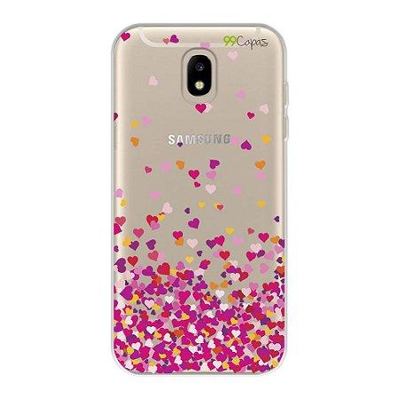 Capa para Galaxy J7 Pro - Corações Rosa