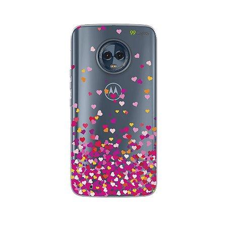 Capa para Moto G6 - Corações Rosa