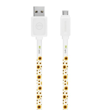 Cabo Micro USB Branco Personalizado - Girassóis