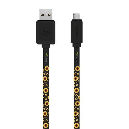 Cabo Micro USB Preto Personalizado - Girassóis