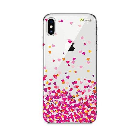 Capa para iPhone XS Max - Corações Rosa