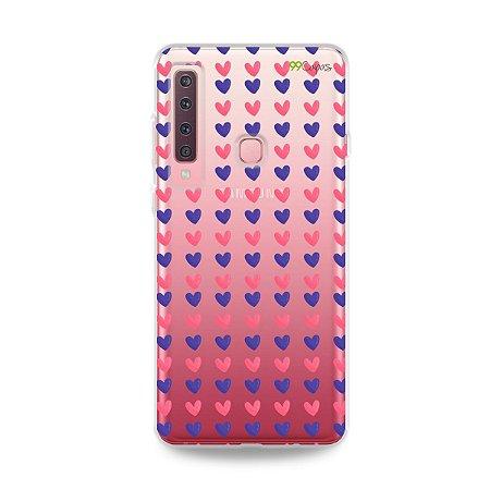 Capa para Galaxy A9 2018 - Corações Roxo e Rosa