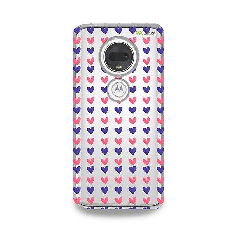 Capa para Moto G7 Plus - Corações Roxo e Rosa