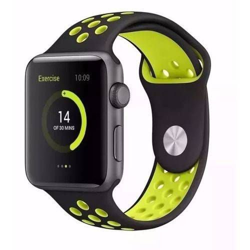 Pulseira esportiva para Apple Watch preto com amarelo  fluorescente-38/40 mm - 99Capas