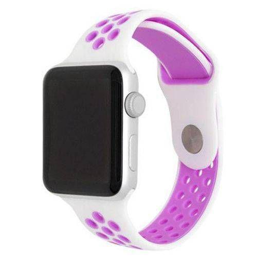Pulseira esportiva para Apple Watch branco com roxo -38/40 mm - 99Capas