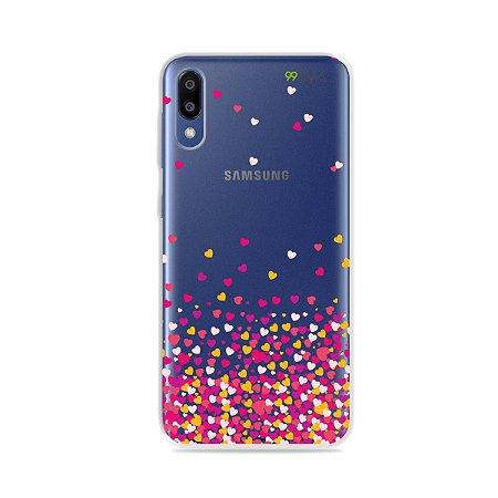 Capa para Galaxy M20 - Corações Rosa