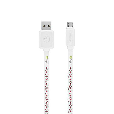 Cabo Micro USB Branco Personalizado - Mini Melancias