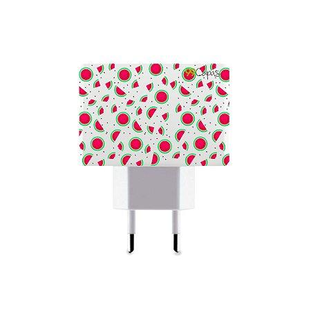 Carregador Personalizado Duplo USB de Parede - Mini Melancias
