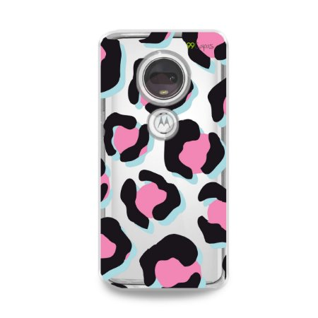 Capa para Moto G7 Plus - Animal Print Black & Pink