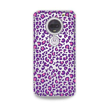 Capa para Moto G7 Plus - Animal Print Purple