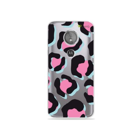Capa para Moto E5 - Animal Print Black & Pink