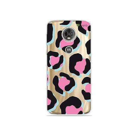 Capa para Moto E5 Plus - Animal Print Black & Pink