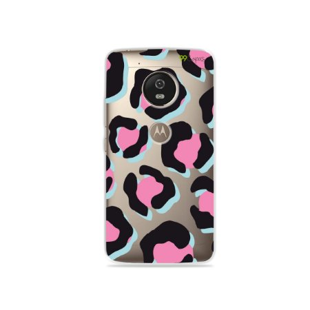 Capa para Moto G5 - Animal Print Black & Pink