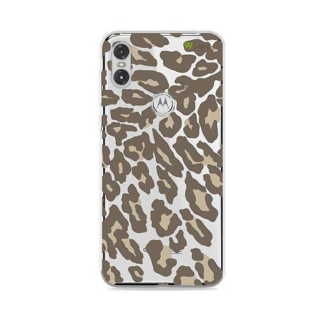 Capa para Moto One - Animal Print Nude